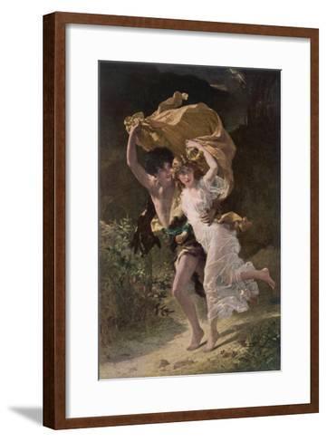 Running from Rain 1880--Framed Art Print