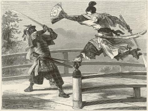 Samurai Warriers Fighting--Stretched Canvas Print