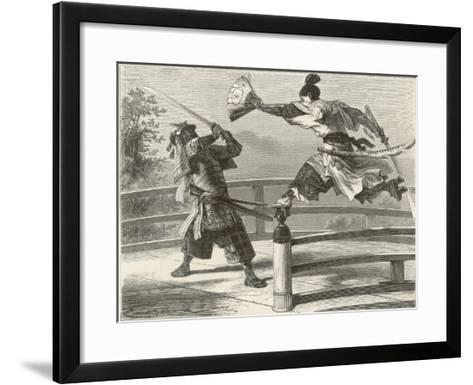 Samurai Warriers Fighting--Framed Art Print
