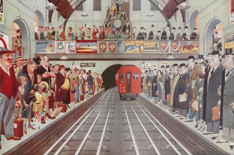 Rush Hour at a London Tube Station, by A. W. Wilson--Stretched Canvas Print