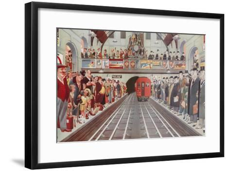 Rush Hour at a London Tube Station, by A. W. Wilson--Framed Art Print