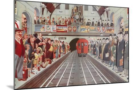 Rush Hour at a London Tube Station, by A. W. Wilson--Mounted Giclee Print