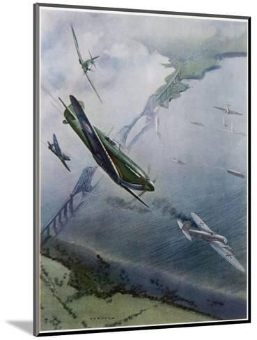 Spitfires over Forth--Mounted Giclee Print