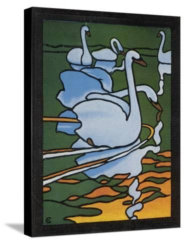 Second of Two Designs for Stained Glass Depicting Swans in the Water. (Cygnus Olor)--Stretched Canvas Print
