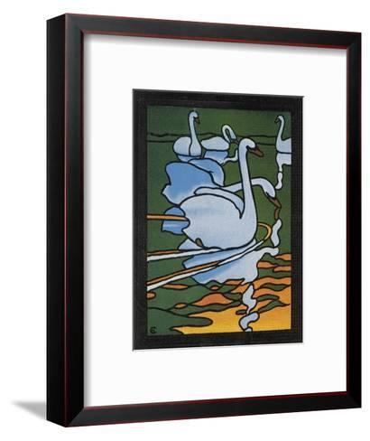 Second of Two Designs for Stained Glass Depicting Swans in the Water. (Cygnus Olor)--Framed Art Print