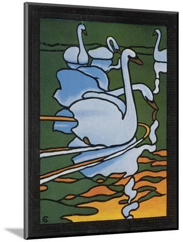 Second of Two Designs for Stained Glass Depicting Swans in the Water. (Cygnus Olor)--Mounted Giclee Print
