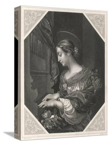 Saint Cecilia Roman Saint and Martyr, Patron Saint of Musicians, Playing a Portative Organ--Stretched Canvas Print