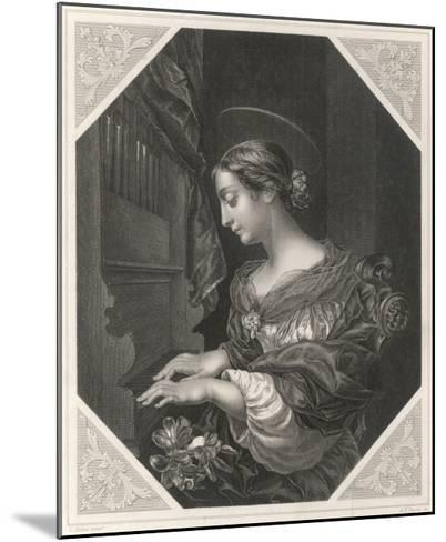 Saint Cecilia Roman Saint and Martyr, Patron Saint of Musicians, Playing a Portative Organ--Mounted Giclee Print