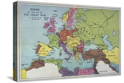 The Map of Europe on the Eve of World War One--Stretched Canvas Print