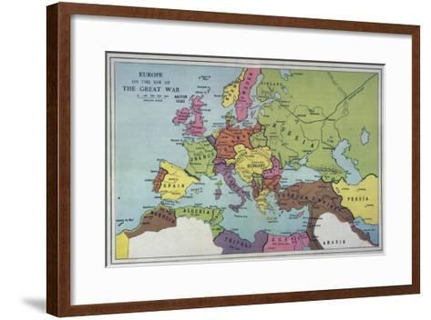 The Map of Europe on the Eve of World War One--Framed Art Print