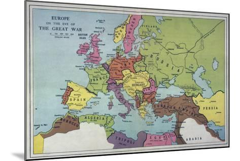The Map of Europe on the Eve of World War One--Mounted Giclee Print