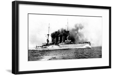 The German Flag Ship Sunk by the British Near the Falklands: the Cruiser 'scharnhorst'--Framed Art Print