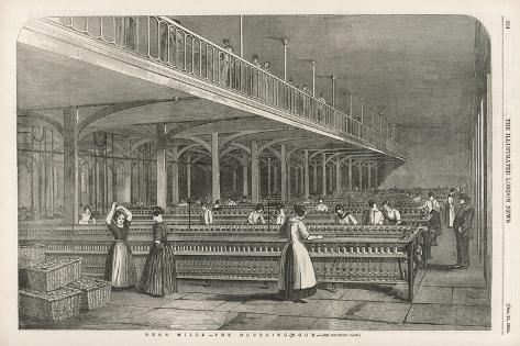 The Doubling Room at Dean Mills, Lancashire, a Cotton Mill--Stretched Canvas Print