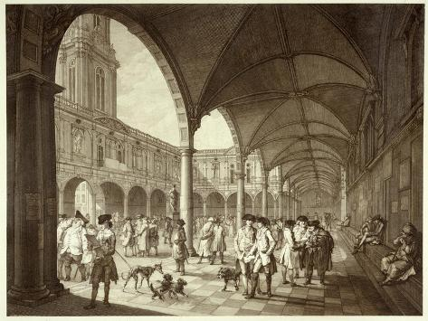 The Busy Royal Exchange Court Yard Full of Men of Business and their Dogs--Stretched Canvas Print