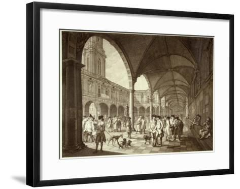 The Busy Royal Exchange Court Yard Full of Men of Business and their Dogs--Framed Art Print