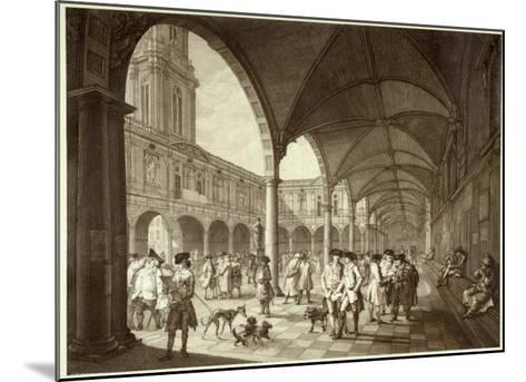 The Busy Royal Exchange Court Yard Full of Men of Business and their Dogs--Mounted Giclee Print