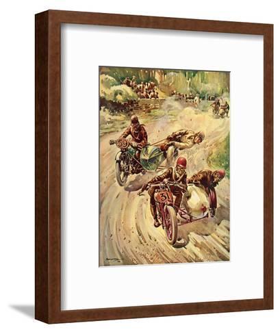 Taking a Bend in a Tourist Trophy Sidecar Race--Framed Art Print
