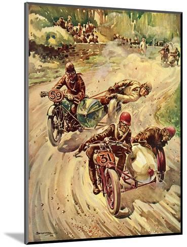 Taking a Bend in a Tourist Trophy Sidecar Race--Mounted Giclee Print