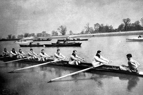 The Inter-Varsity Boat-Race: the Crews at Practice--Stretched Canvas Print