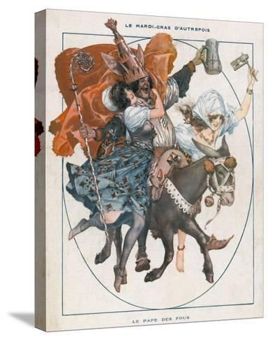 The Mock Pope - 'Le Pape Des Fous' - Part of the Mardi Gras Celebrations--Stretched Canvas Print