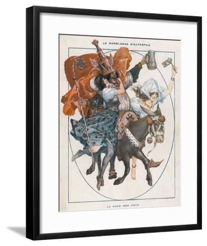 The Mock Pope - 'Le Pape Des Fous' - Part of the Mardi Gras Celebrations--Framed Art Print