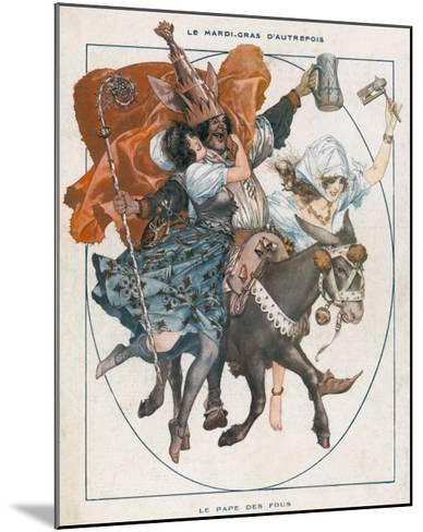 The Mock Pope - 'Le Pape Des Fous' - Part of the Mardi Gras Celebrations--Mounted Giclee Print