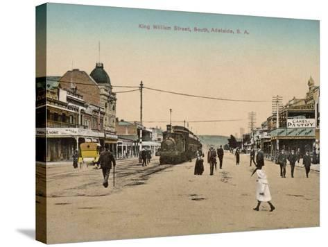 Train on King William Street, Adelaide, South Australia, 1900s--Stretched Canvas Print