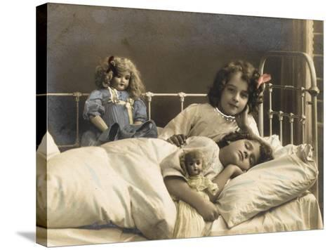 Two Sisters Prepare for Bed - and of Course their Dolls Come to Bed with Them--Stretched Canvas Print