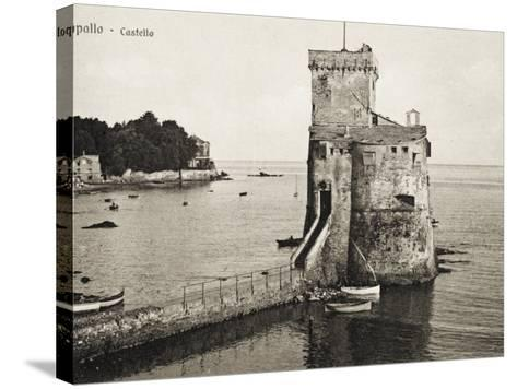 The Castle - Rapallo, Italy, Guarding the Entrance to the Harbour--Stretched Canvas Print