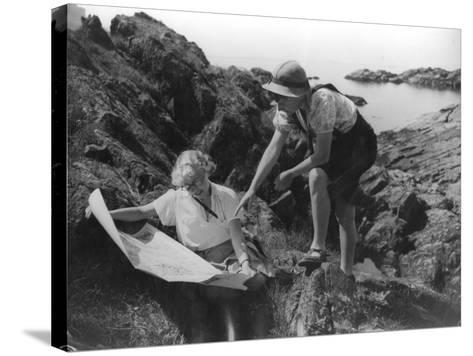 Two Female Hikers on a Coastal Route Stop and Consult their Map--Stretched Canvas Print