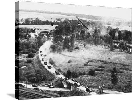 Transport Column in France WWII-Robert Hunt-Stretched Canvas Print
