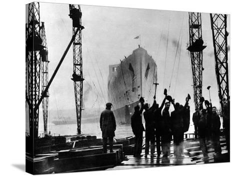 The Launch of R.M.S. 'Queen Mary', Clydebank, September 1934--Stretched Canvas Print