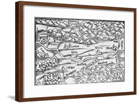 The Rhine at Speyer, with Other Towns Indicated--Framed Art Print