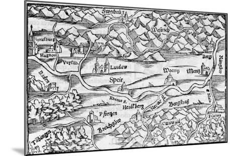 The Rhine at Speyer, with Other Towns Indicated--Mounted Giclee Print
