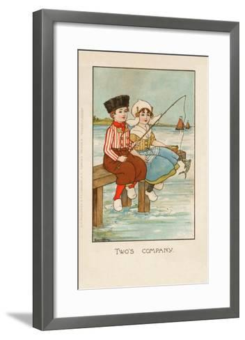 Two Dutch Children Sit on a Pier and Fish as Ships Sail in the Distance--Framed Art Print