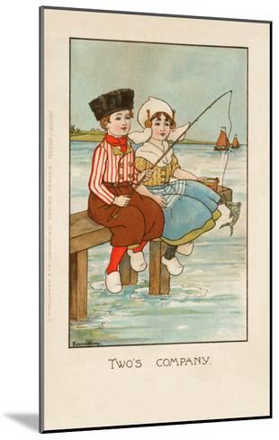 Two Dutch Children Sit on a Pier and Fish as Ships Sail in the Distance--Mounted Giclee Print