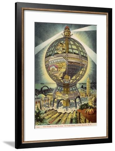 The Steel Globe Tower, 700 Feet High, on Coney Island, New York, America--Framed Art Print