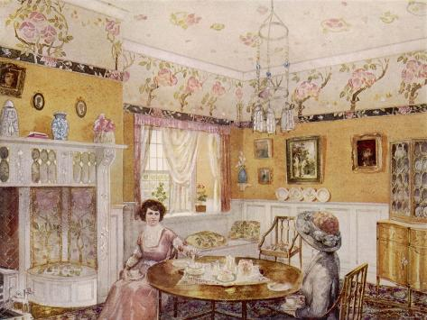Two Women Take a Leisurely Afternoon Tea in a Prettily Decorated Room--Stretched Canvas Print