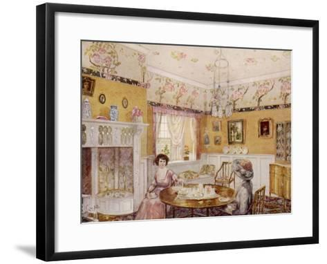 Two Women Take a Leisurely Afternoon Tea in a Prettily Decorated Room--Framed Art Print