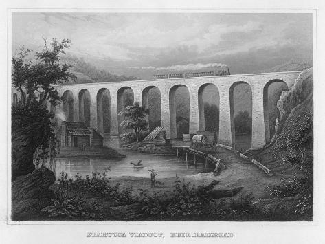 The Starucca Viaduct on the Erie Railroad--Stretched Canvas Print