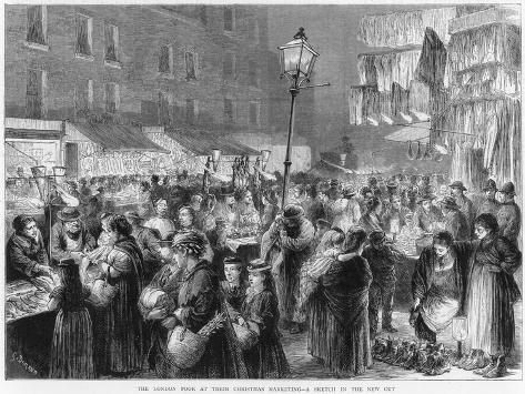 The Poor of London Doing their Christmas Shopping--Stretched Canvas Print