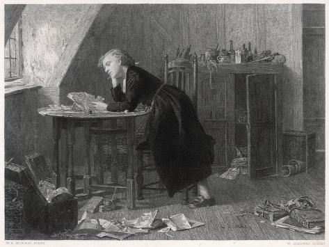 Thomas Chatterton the Young English Poet at Work--Stretched Canvas Print