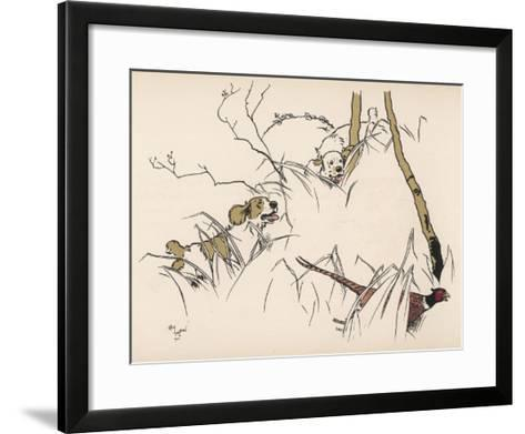Two Spaniels Chase a Frightened Pheasant Through the Undergrowth--Framed Art Print