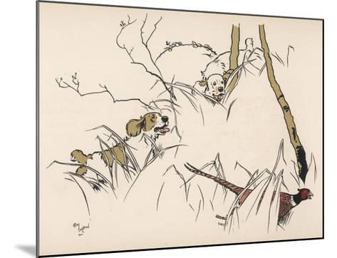 Two Spaniels Chase a Frightened Pheasant Through the Undergrowth--Mounted Giclee Print