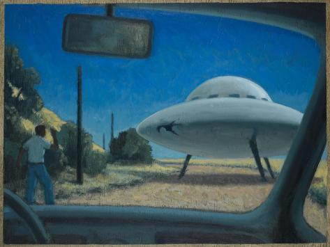 UFO Encounter-Michael Buhler-Stretched Canvas Print