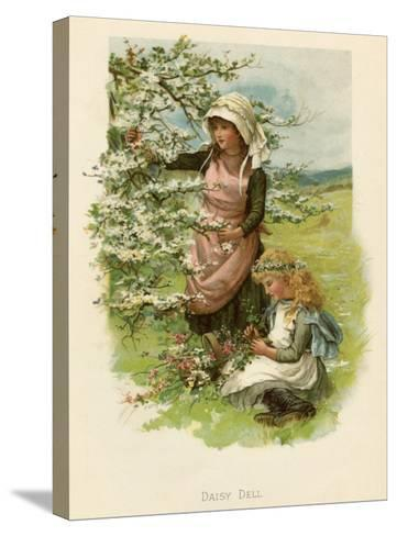 Two Girls in a Meadow, Picking Wild Flowers--Stretched Canvas Print