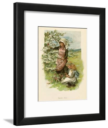 Two Girls in a Meadow, Picking Wild Flowers--Framed Art Print