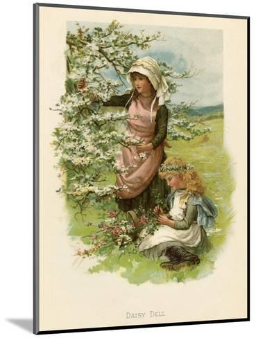 Two Girls in a Meadow, Picking Wild Flowers--Mounted Giclee Print
