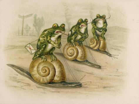 Three Frogs Mounted on Snails Race Each Other--Stretched Canvas Print