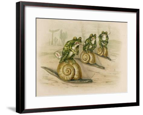 Three Frogs Mounted on Snails Race Each Other--Framed Art Print